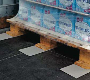 Three Anti Slip Load Mats Stowing a wooden palled stacked with boxes