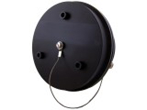 A Black Exhaust & Connection Port With A Manual Override Button And A Self Sealing Valve
