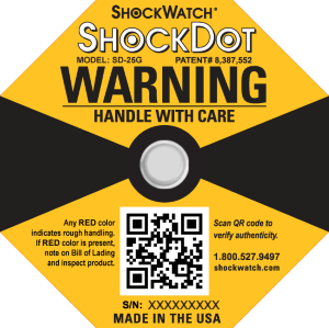 ShockDot Impact Indicator With A Dot That Turns Red Upon Impact And QR Code To Verify Authenticity Of Product