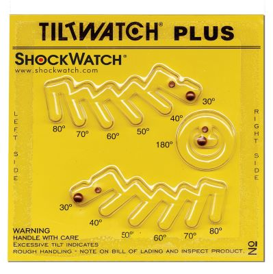 Upright TiltWatch Plus With Three Separate Indicators To Indicate Degree Of Tilt To Right, Left Or Overturned