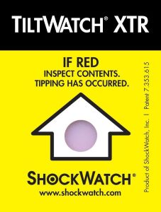 A Yellow ShockWatch TiltWatch XTR With Tilt Indicator And Instruction: If Red Expect Content Tipping Has Occurred