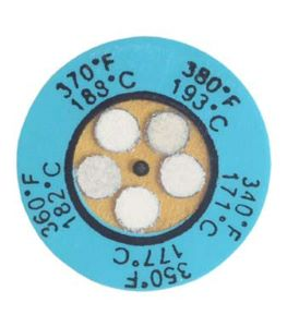 A Blue Non-Reversible Thermax 5-Level Temperature Clock Indicator With Five Silver Alarm Stickers