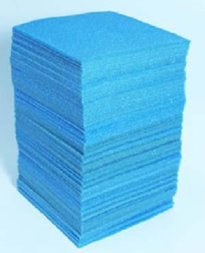 A stack of aqua colour VCI non-abrasive cushion foam