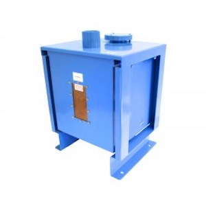 A Blue Floor Mounted Tank Vent Dryer Storing Silica Gel Desiccant