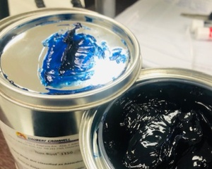 Blue colour VCI Transit Coating on a metal container