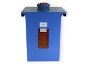 A Blue Wall Mounted Tank Vent Dryer Storing Silica Gel Desiccant