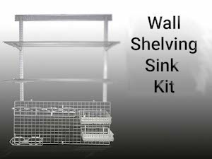 Silver Wall Shelving Sink Kit Supported By A Shelf