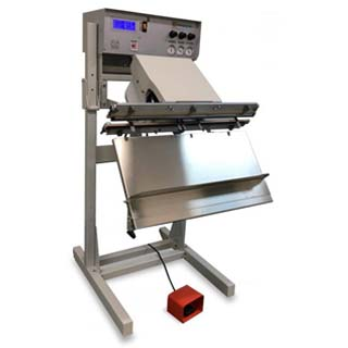 Stainless Steel Industrial Vacuum Sealer with a SureSeal digital interface, pressure gauges with regulator & a footswitch