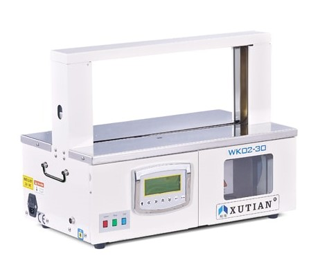 Tabletop Paper Banding Machine featuring a control panel with auto, manual & pedal switch mode